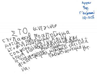 Χαρακτηριστική γραφή παιδιού με δυσγραφία